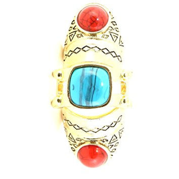 Etched Turquoise Howlite Hinged Knuckle Ring Tribal Gold Tone Red Cabochon RK19 Fashion Jewelry
