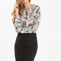 Rita Black and Ivory Leaf Print Blouse