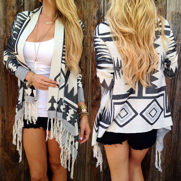 Boho Womens Long Sleeve Cardigan Loose Geometry Pattern Outwear Knitted Tassel Jacket Coat Autumn Winter Clothing