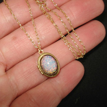 Vintage Oval Locket Personalized Necklace Tiny Brass Locket Fire Opal with Gold Chain Personalized Jewelry