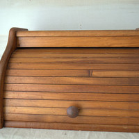 Vintage Kitchen Warm Wood Roll Top Bread Box