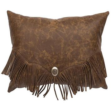 "Leather Decor Pillow with Fringes & Concho (16"" x 20"")"