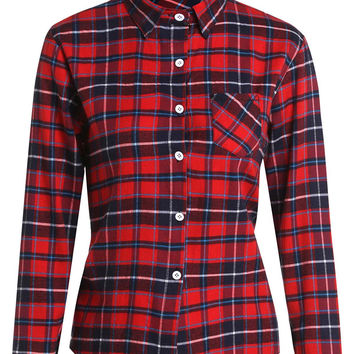 Plaid Patch Pocket Long Sleeve Top