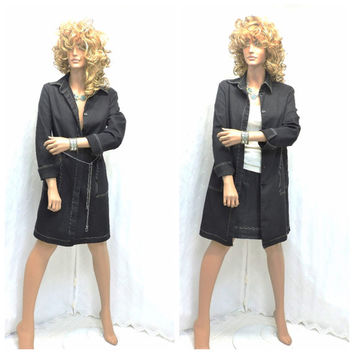 90s designer Peter Nygard denim duster / dress / skirt S long jean coat and skirt boho urban chic denim dress long jacket SunnyBohoVintage