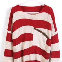 Red Striped Bat Long Sleeve Sweaters