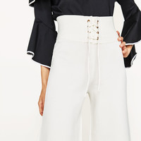 TROUSERS WITH SASH BELT