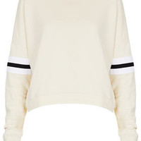 Stripe Sleeve Sweat - Jersey Tops  - Clothing