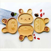 Cute Rabbit Food Dish Wooden Appetizer Children Dinner Tray Tableware Plate
