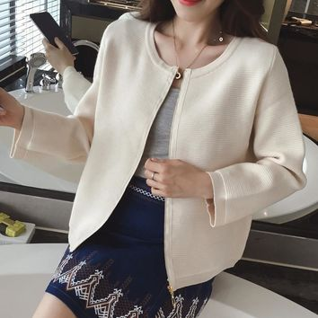 Hot Autumn Women's Ladies Cardigan Fashion O-neck Zips Knitwear All Match Air Permeable Cute Wraps Solid Color Sweater Jacket