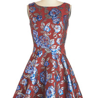 ModCloth Mid-length Sleeveless Fit & Flare Leaves of Luxury Dress