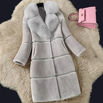 Plain Faux Fur Shearling Coat