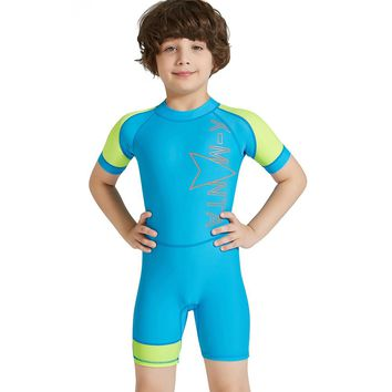 DIVE&SAIL New Kids Baby Girl Boy Wetsuits UPF 50+Sun Protection One Pieces Diving Suits Children Short Sleeve Surfing Jump Suit