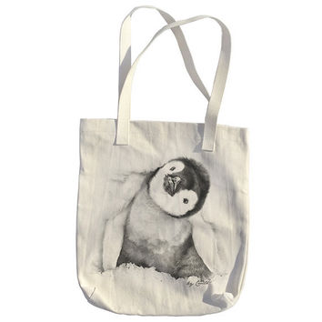 Tote Bag American Apparel Bull Denim Woven Cotton Hand Screen Print