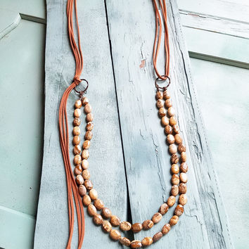 Double Strand Picture Jasper Necklace with Tassel 228S