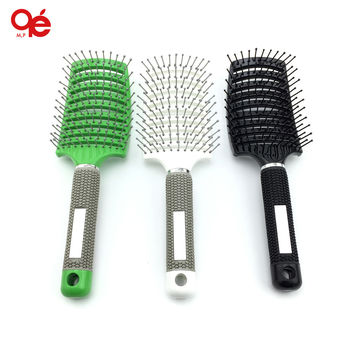 free shipping anti-static heat curved vent barber salon hair styling tool rows tine comb brush