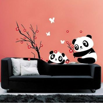 Adorable Pandas Bamboo Pattern Removable Vinyl Decal Home Decor Wall Sticker