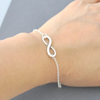 Sterling Silver Infinity Bracelet Infinity 925 Solid Silver- Forever Love - Dainy Silver Bracelet- Bridesmaid Gift- Eternity Jewelry