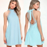 Pure Color Scoop Loose Sleeveless Backless Short Dress