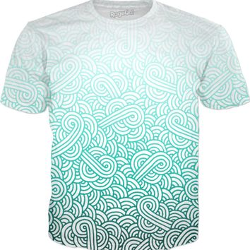 Gradient turquoise Gradient turquoise blue and white swirls doodles T-Shirt