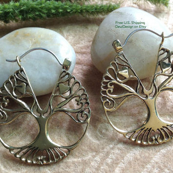 "Tribal Exotic Hanging Earrings, ""Tree Hug"" Brass, Sterling Clasps, Handcrafted"