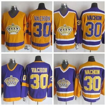 Throwback Los Angeles Kings Jersey #30 Rogatien Vachon Jersey Vintage 1970 CCM Classic Rogatien Vachon Hockey Jersey Yellow Purple Stitched