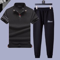 Gucci  Men and Women Fashion Black Leisure Tracksuit Two Piece Suit Set created created