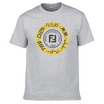 FENDI 2018 men's and women's couple fashion casual cotton T-shirt F0459-1 Grey