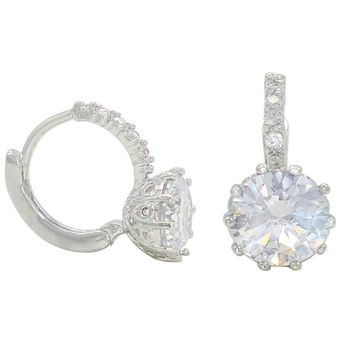 Rhodium Plated Clear Round Crystal Small Hoop Huggie Earrings for Women
