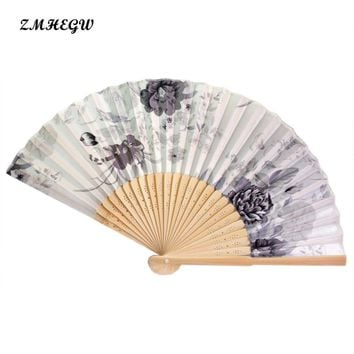 ZMHEGW Vintage Bamboo Folding Hand Held Flower Fan Chinese Dance Party Pocket Gifts Dance Party Pocket Gifts For Summer Wedding