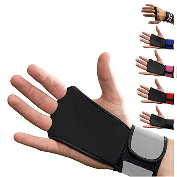 Leather Hand Grips with wrist support for Cross Fitness WODs, Pull Ups, Kettlebell workout, Barbell Training, Weightlifting, Velcro Wrist Support, Calluses Protect, For Men and Women,Grey,Large