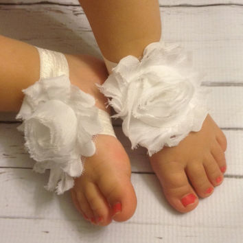 Baby Barefoot Sandals...White Barefoot Sandals...Newborn Sandals...Toddler Sandals