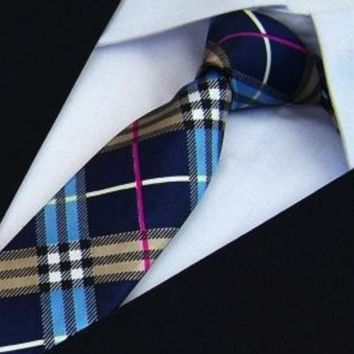 Slim Blue Background Checkered Tie with Pink Stripe