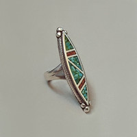 Vintage NATIVE American Coral Turquoise NAVAJO Ring MOSAIC Inlay Gemstones Sterling Silver 7.5 Grams Size 5 Hallmarked c.1960s