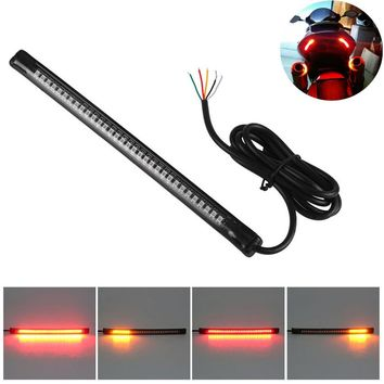 "Universal Flexible 32LED Motorcycle Light Strip Tail Brake Stop Turn Signal Light License Plate Lamp 8"" Red and Amber Led Color"