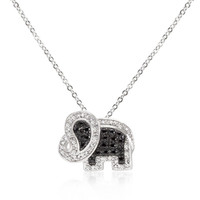 Black And White Cz Elephant Pendant
