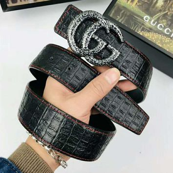 GUCCI Newest Fashionable Men Woman Smooth Buckle Leather Belt