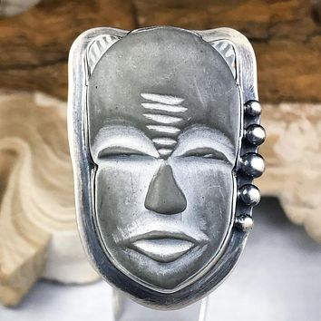 Adjustable Sterling Silver Tribal Mask Basalt Stone Ring