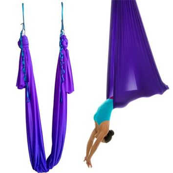Wellsem®5.5 Yards(5m/set) Elastic Pilates Yoga Swing Aerial Yoga Hammock (Depp Purple, 5meter)