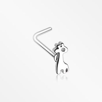 Adorable Dainty Giraffe L-Shaped Nose Ring