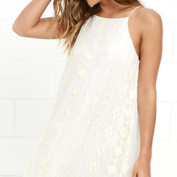 Pimenta Cream Embroidered Swing Dress