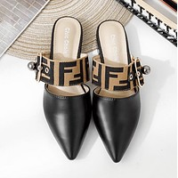 FENDI Summer Popular Women Casual Pointed Sandal Slipper Shoes Black