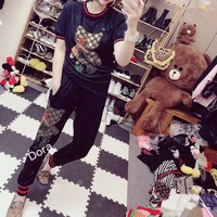 """Gucci"" Women Casual Fashion Hot Fix Rhinestone Cartoon Duck Short Sleeve Trousers Set Two-Piece Sportswear"