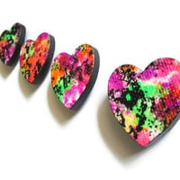 Neon Heart Magnets Gift Set of 4 in bright neon colors for dorm, home or office decor, hand painted decorative magnets wooden hearts