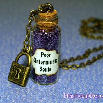 Ursula Poor Unfortunate Souls Necklace with a Lock Charm, Bronze, Disney Little Mermaid, by Life is the Bubble