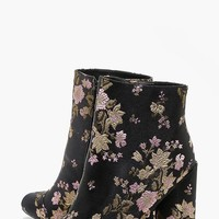 Fiona Floral Embroidered Cylinder Heel Boot | Boohoo