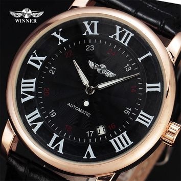 Top Brand WINNER Dress Automatic Mechanical Watches Men Gold Case Simple Rome Dial Leather Band Clock Male Gift Wristwatch