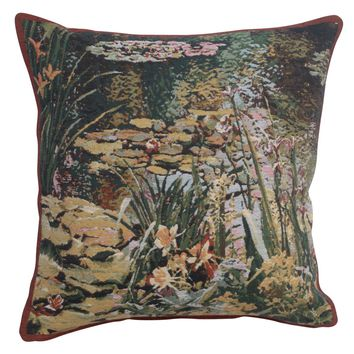 Yellow Flowers Monet's Garden  European Cushion