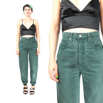 90s Grunge Mom Jeans High Waisted Jeans Green Jeans Tapered Leg Skinny Jeans Denim Mom Jeans Vintage Womens Jeans Classic 5 Pockets (S/M)
