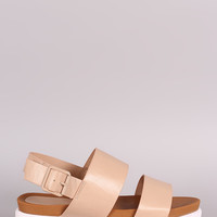 Bamboo Vegan Leather Two Band Lug Sole Flatform Sandal