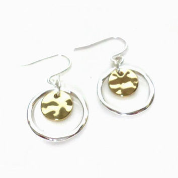Silver and Gold Round Circle Disc Hook Drop Dangle Small Hoop Earrings, gift